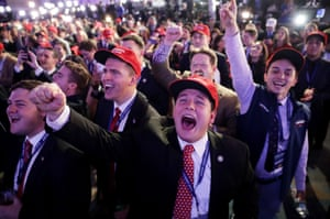Supporters of Donald Trump cheer on election night, 2016.