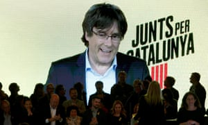 Ousted Catalan regional Government President Carles Puigdemont delivers a live message on a video conference from Brussels during a Juns per Catalunya (JxCat) end of campaign electoral rally held in Barcelona, Catalonia, Spain, 26 April 2019.