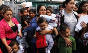 Woman and their children, many of whom have fled violence and poverty in Honduras, Guatamala and El Salvador, in McAllen, Texas.