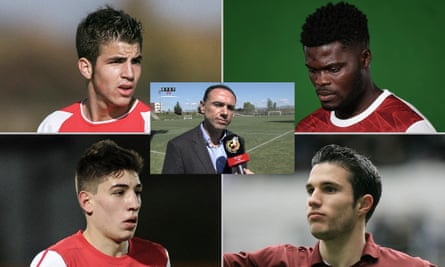 Francis Cagigao (centre) and some of the players he helped to bring to Arsenal: Cesc Fàbregas, Thomas Partey, Robin van Persie and Héctor Bellerín.