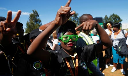 Delegates make hand gestures calling for a change of leadership before the start of the ANC conference on Friday.