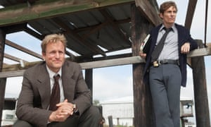 Woody Harrelson as Martin Hart and Matthew McConaughey as Rustin Cohle in True Detective