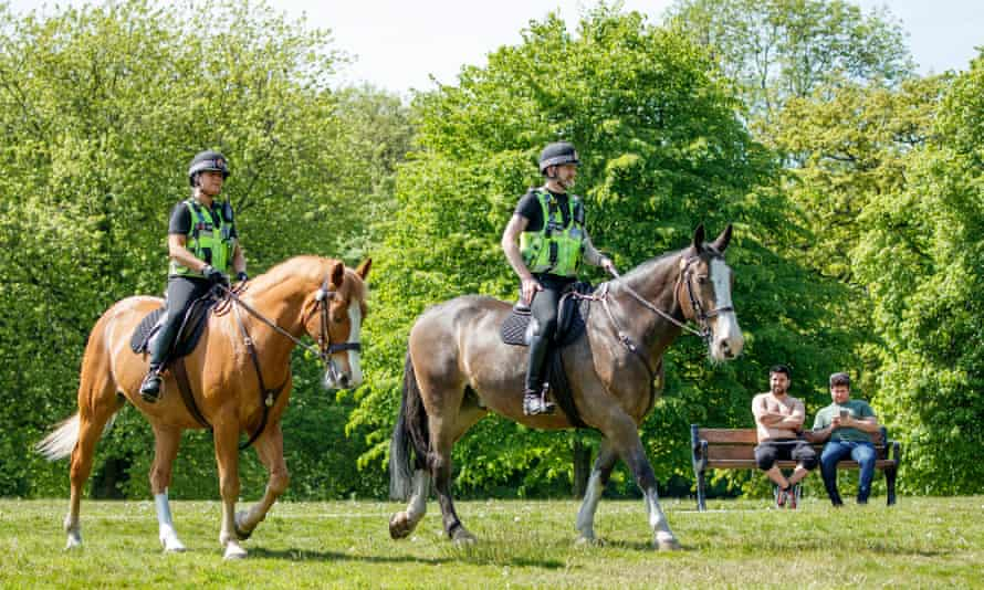 Mounted police in Heaton Park, Manchester
