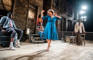 Dexter Flanders (Mister), Cherrelle Skeete (Tonya), Aaron Pierre (King Hedley), Martina Laird (Ruby) and Lenny Henry (Elmore) in King Hedley II by August Wilson at Theatre Royal Stratford East. Directed by Nadia Fall, 2019