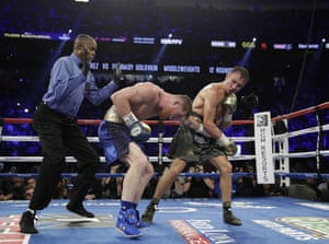 Golovkin stuns Alvarez for a moment.