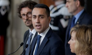 Luigi Di Maio, the Five Star Movement leader, gives a statement in Rome