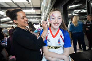 Young Clacton FC footballer Kayleigh Jenkins has her face painted in West Ham colours.