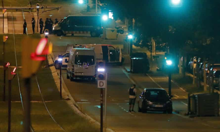 Police at the site of the attack in Sant Just Desvern.