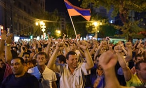 Opposition supporters on a protest march in Yerevan on Tuesday.