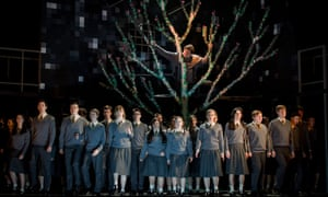 'Haunting, wistful coolness': Stuart Jackson, top, as Pierre with members of Glyndebourne Youth Opera in David Bruce's Nothing.
