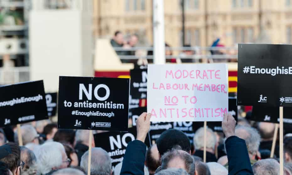 A London protest in March 2018 against antisemitism in the Labour party.
