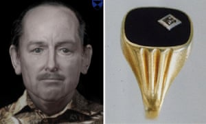 A facial reconstruction of the man killed in 1991 and a piece of jewellery from the case.