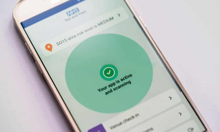 The NHS Covid-19 app on an Android mobile phone