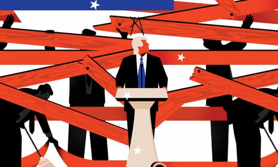 Trump transition illustration.
