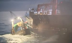 French and British fishing vessels collide during a dispute in the Channel over scallop fishing rights in August.