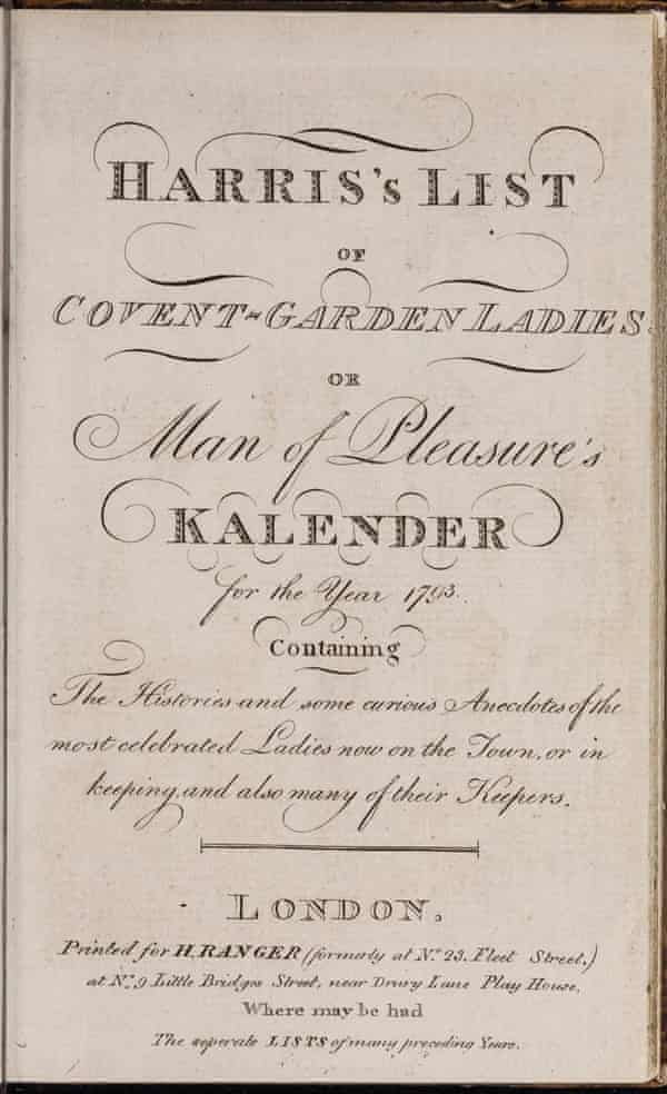 Title page of 1793 edition of Harris's Lists of Covent-Garden Ladies.