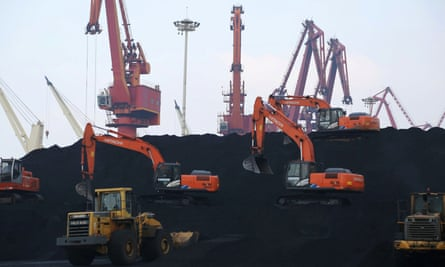 Imported coal being unloaded in China's Jiangsu province