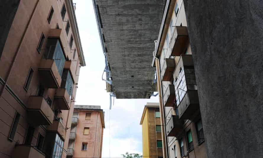 The buildings beneath the collapsed Morandi Bridge.