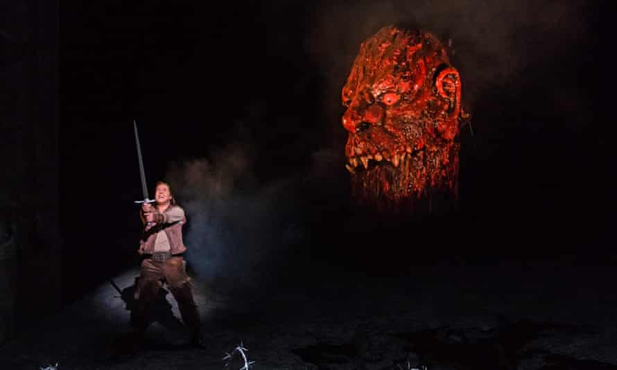 Stefan Vinke wields a sword as Siegfried in the Royal Opera House production during which a fight broke out in the audience in 2018.