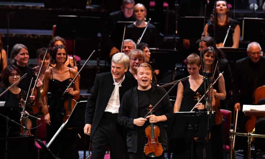 Symphonic argument ... Thomas Dausgaard and Pekka Kuusisto with the BBC Scottish Symphony Orchestra.