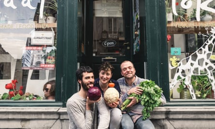Staff at vegan coop cafe Lokaal, Ghent: Arno de Mol is on the left.