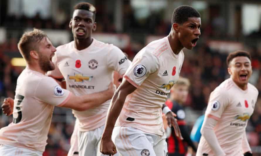 Marcus Rashford celebrates scoring Manchester United's winner at Bournemouth, with Luke Shaw, Paul Pogba and Jesse Lingard