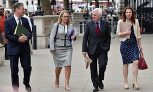 (Left to right): Labour's Sir Keir Starmer, Rebecca Long-Bailey, John McDonnell and Sue Hayman arriving at the Cabinet Office earlier for the cross-party talks with the government on Brexit.