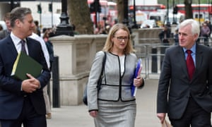 Shadow Brexit secretary Sir Keir Starmer, shadow business secretary Rebecca Long-Bailey and shadow chancellor John McDonnell arrive at the Cabinet Office in London for cross-party Brexit talks on 23 April.