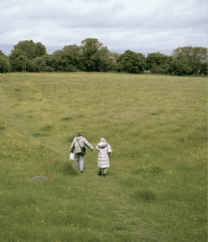 Jackie follows Justin as he searches for birds near Tring, Hertfordshire, 2013.