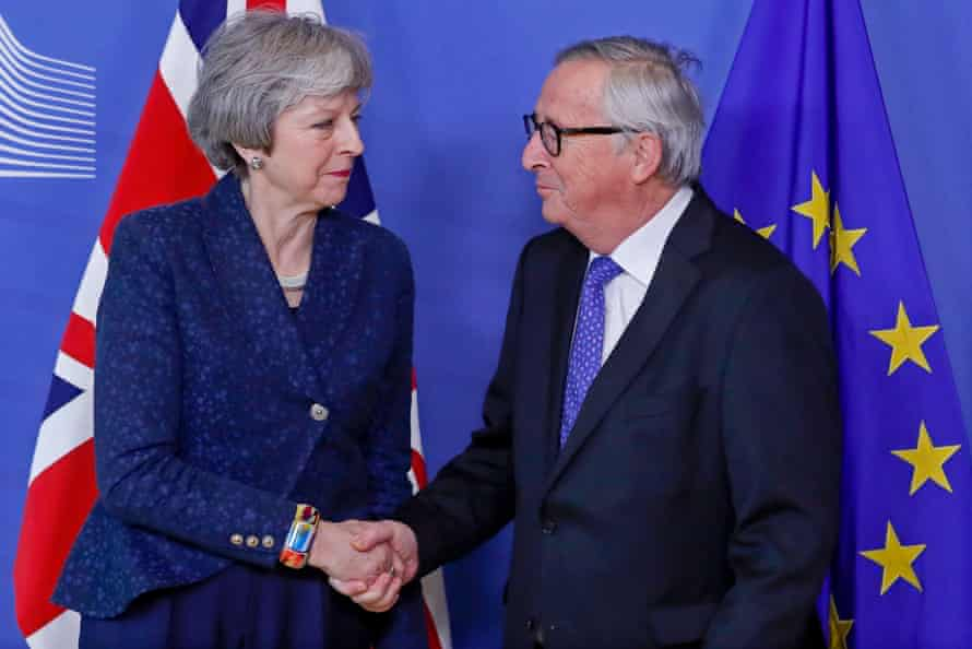 Theresa May meets the European commission president, Jean-Claude Juncker in Brussels.