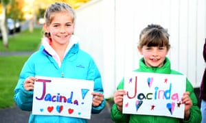 Neighbours of Jacinda Ardern show their support outside her house