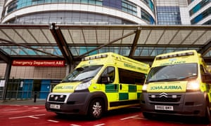 Ambulances outside the Queen Elizabeth hospital in Birmingham.