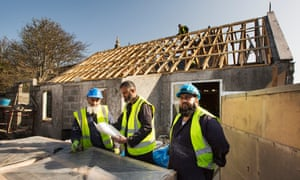 Workers on the building site for the Stornoway mosque