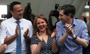 Leo Varadkar with the Irish health minister, Simon Harris, and the senator Catherine Noone