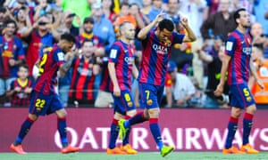 Pedro Rodriguez celebrates scoring the second for FC Barcelona