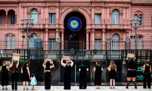Women protest outside the presidential palace in Buenos Aires, Argentina