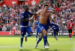 Leicester City's Harry Maguire celebrates scoring the winner to beat Southampton 2-1 at St Mary's.