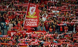 Australian Liverpool fans show their support at ANZ Stadium.