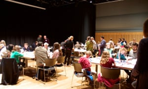 Activities taking place in Hall 2 at Kings Place at the Guardian Education Centre Cartoon and art family day 17 November 2018