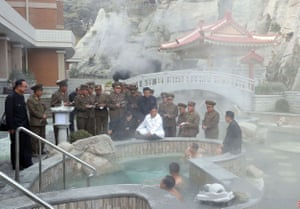 North Korean leader Kim Jong-un visits Yangdok County hot spring resort, a tourist destination that is nearing completion.