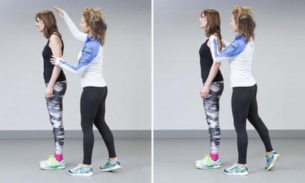 Zoe Williams and Joanna Hall doing exercises