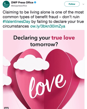 The DWP's Valentine's message on Twitter to benefit recipients