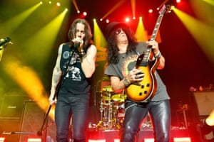 Myles Kennedy and Slash onstage at Hollywood Palladium in 2018.