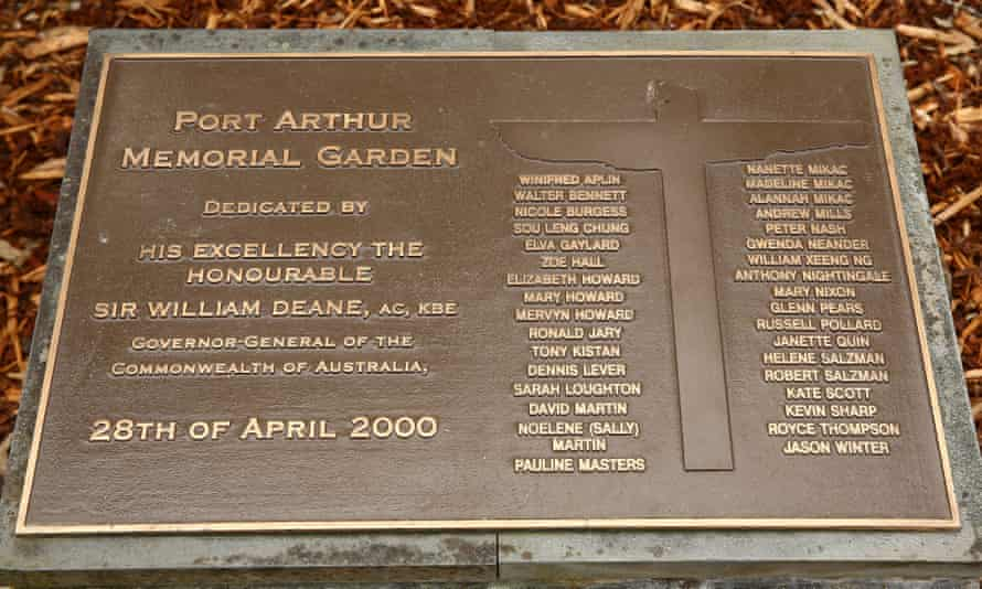 A plaque in Port Arthur bearing the names of those who lost their lives in the 1996 massacre.