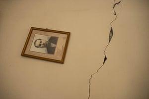 Damage inside a house after heavy Israeli shelling on Al-Shati refugee camp in Gaza