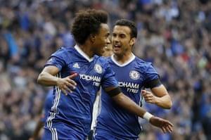 Willian celebrates with Pedro.