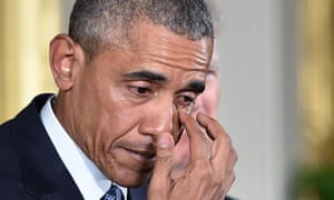 Barack Obama wiped a tear as he spoke at the White House on reducing gun violence on 5 January 5 2016.