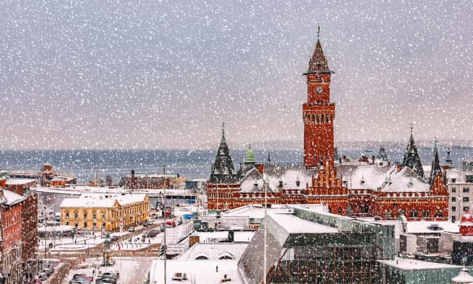 City Hall Square Copenhagen with falling snow