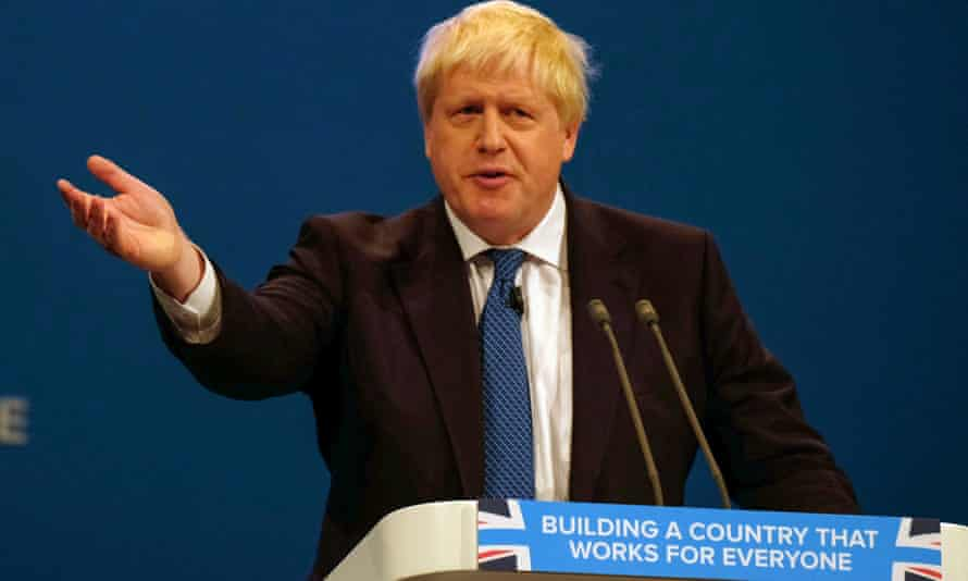 Boris Johnson speaks at the Conservative party conference.