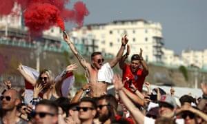 Football fans celebrate in Brighton